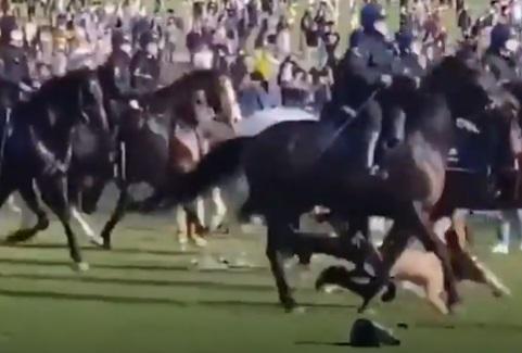 """Video: Cô gái ngực trần bị cảnh sát kỵ binh Bỉ """"hạ gục"""", nằm bất động - 1"""