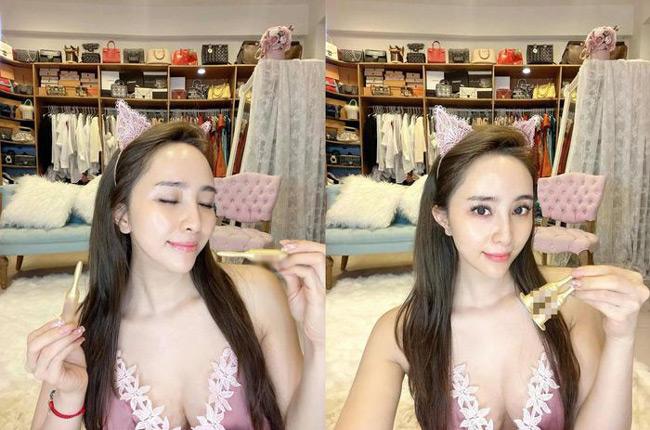 Khi livestream, Quỳnh Nga từng lựa chọn chiếc váy ngủ sexy, khoe được lợi thế hình thể.