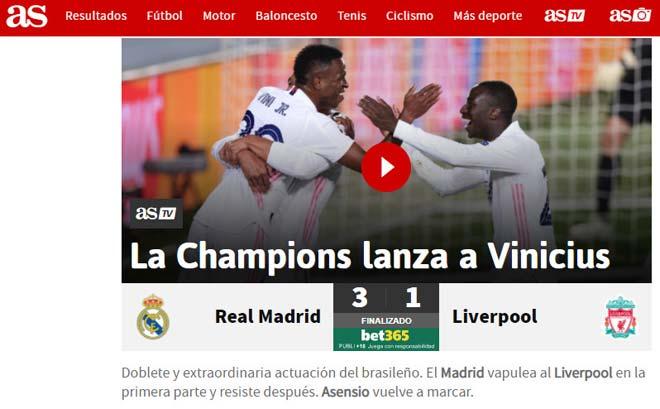 """Truyền thông Tây Ban Nha mê mệt vì Vinicius, Liverpool bị báo Anh """"làm gỏi"""" - 1"""