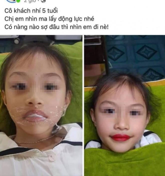 """Xôn xao phụ huynh để con gái 5 tuổi xăm môi đỏ, thợ xăm có hành động """"khó đỡ"""" - 1"""