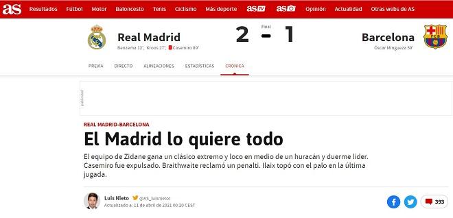 Real Madrid đánh bại Barca: Báo chí ca ngợi Zidane, tố trọng tài sai lầm - 1