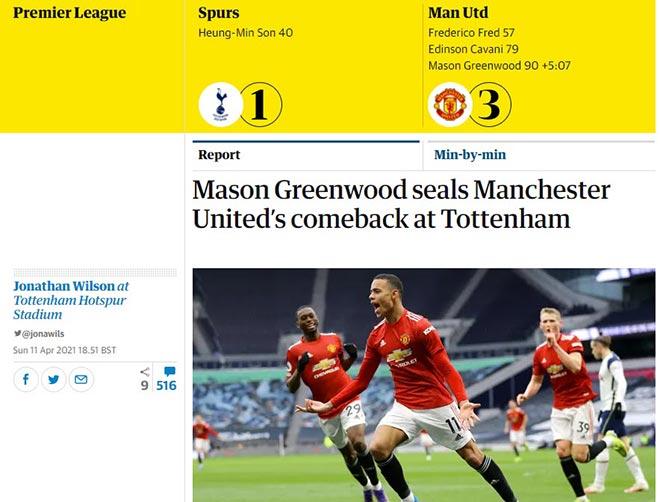 MU thắng ngược Tottenham: Báo Anh khen Cavani & Pogba, đồn đoán tương lai Kane - 1