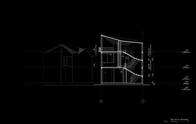 """Hệ thống mái """"hình học góc cạnh"""" được thiết kế với các mức độ cao thay đổi khác nhau tương ứng với mặt bằng mái và tự hòa trộn với các công trình xung quanh."""