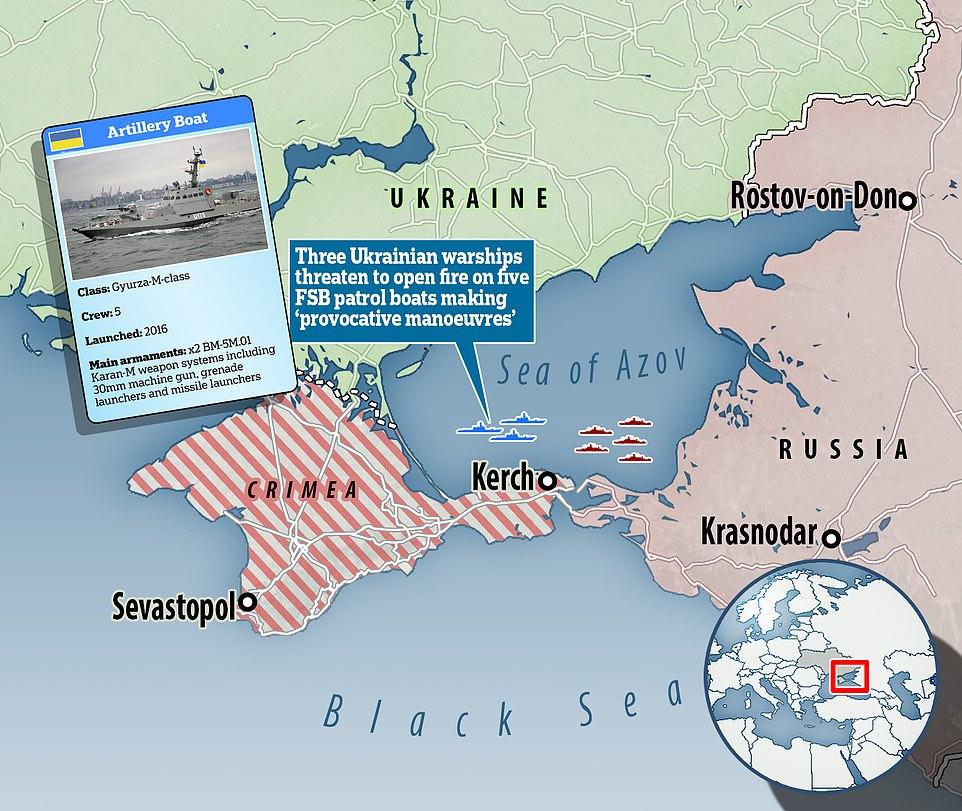 3 tàu pháo Ukraine dọa nổ súng nhằm vào tàu tuần tra Nga - 1