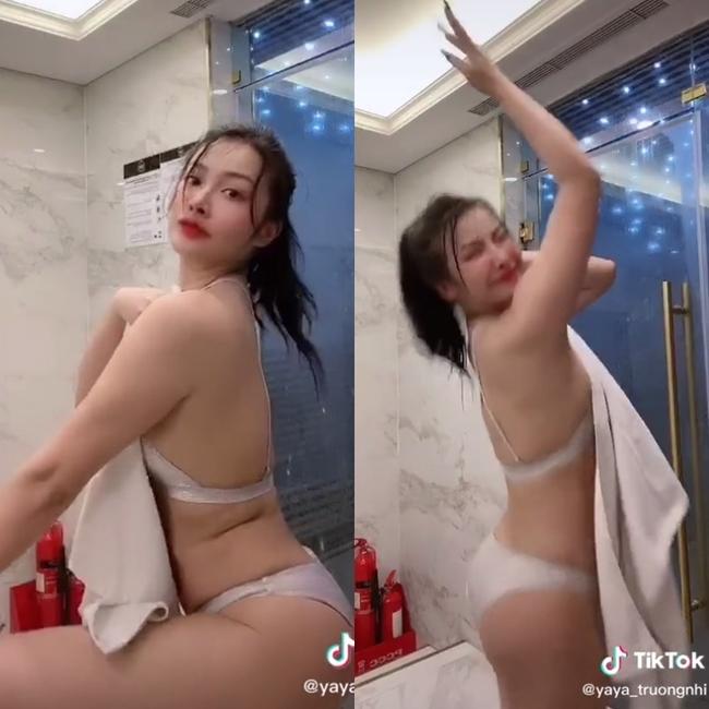 Mới đây, trên TikTok cá nhân, Yaya Trương Nhi đã gây xôn xao khi đăng tải đoạn clip quay lại khoảnh khắc cô nàng diện bộ đồ nội y 'siêu nhỏ' tạo những dáng đứng gợi cảm trong phòng tắm.