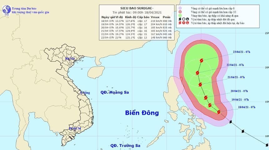 Xuất hiện siêu bão Surigae cực mạnh, gió giật trên cấp 17 gần Biển Đông - 1