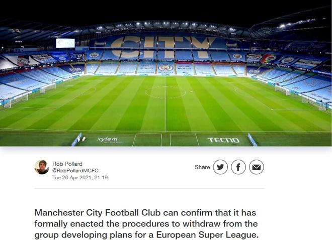 Super League đón cú sốc: Man City chính thức rút lui, trở lại đá Ngoại hạng Anh - 1