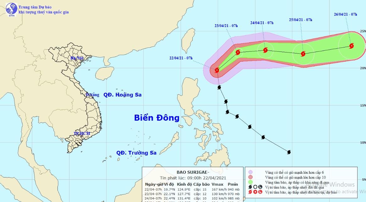 Siêu bão Surigae bất ngờ đổi hướng, di chuyển với vận tốc nhanh hơn - 1