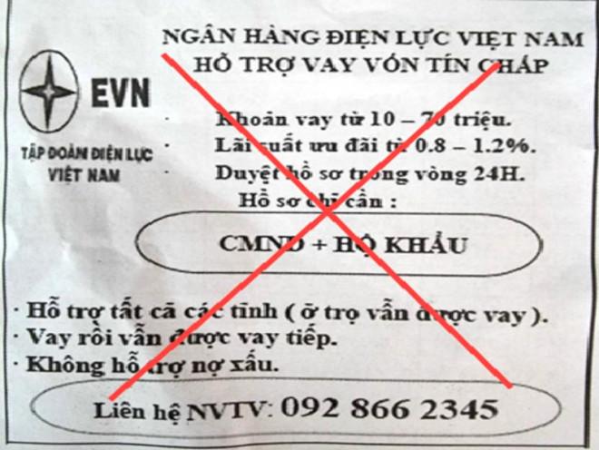 Thủ đoạn mới: Giả mạo EVN để... cho vay tín chấp - 1
