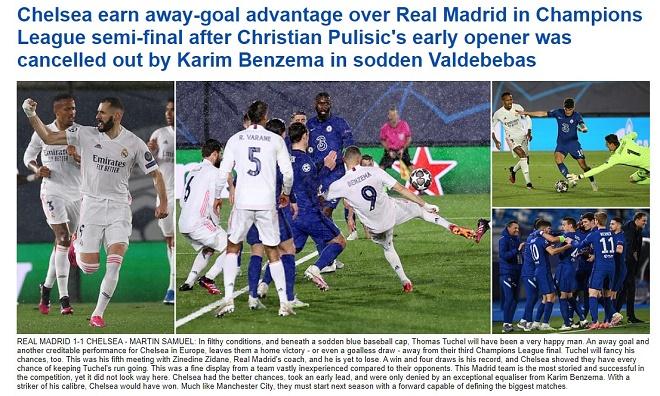 """Chelsea cầm chân Real: Báo Anh khen Tuchel """"cáo già"""", sáng cửa chung kết Cúp C1 - 1"""
