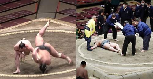 Video: Hãi hùng khoảnh khắc đô vật sumo đập đầu xuống đất, tử vong sau một tháng - 1