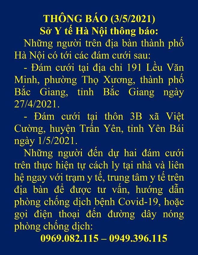 Hà Nội ra thông báo khẩn tìm người đi đám cưới ở Bắc Giang, Yên Bái - 1