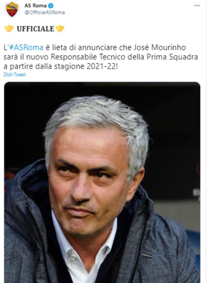 Nóng: HLV Mourinho CHÍNH THỨC dẫn dắt Roma mùa tới - 1