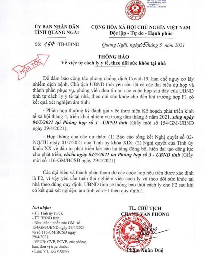 Hàng loạt cán bộ tỉnh Quảng Ngãi phải cách ly chờ kết quả xét nghiệm Covid-19 - 1