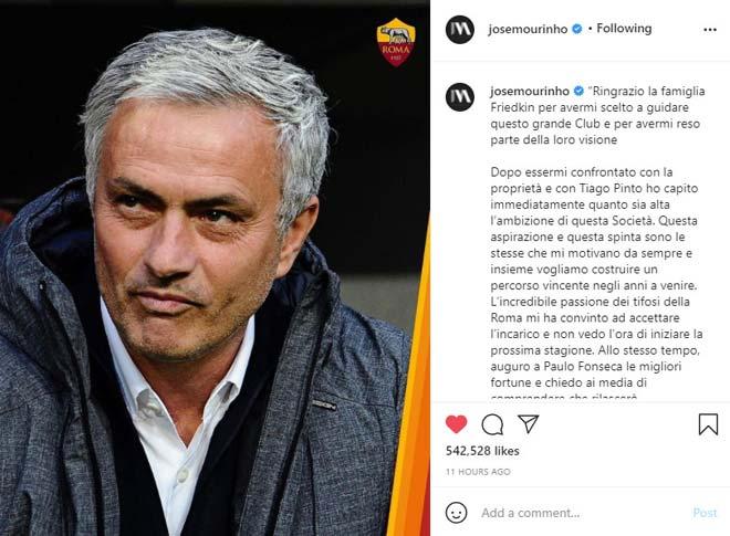 """HLV Mourinho liên tục """"nịnh"""" AS Roma, sếp mới khen vĩ đại nhất thế giới - 1"""