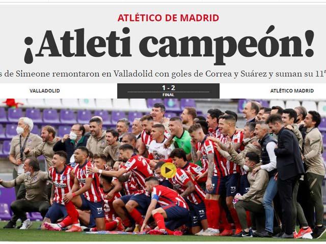 Atletico vô địch La Liga: Báo chí Tây Ban Nha vỡ òa, tâng bốc Suarez hết lời