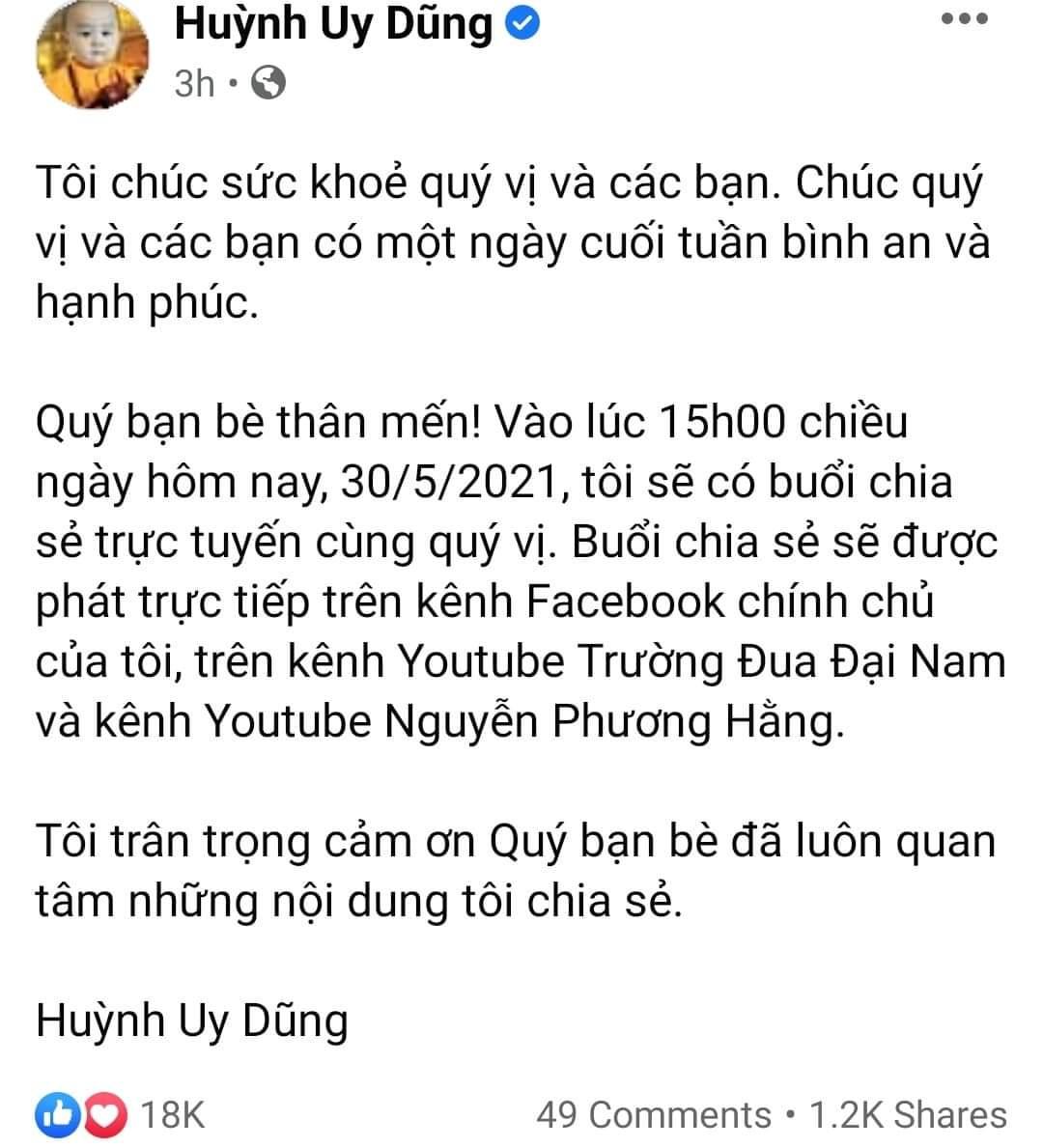 """Bà Phương Hằng vừa hủy livestream, ông Dũng """"lò vôi"""" liền lên Facebook làm điều này - 1"""