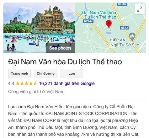 """KDL Đại Nam của bà Phương Hằng, ông Dũng """"lò vôi"""" nhận """"bão 5 sao"""" trên Google Maps - 1"""