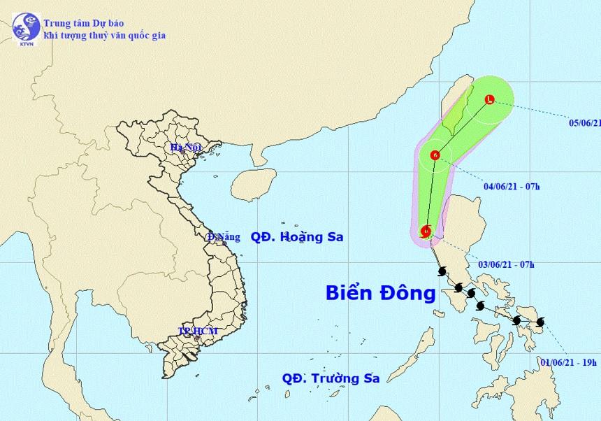 Biển Đông hứng cơn bão đầu tiên của năm 2021
