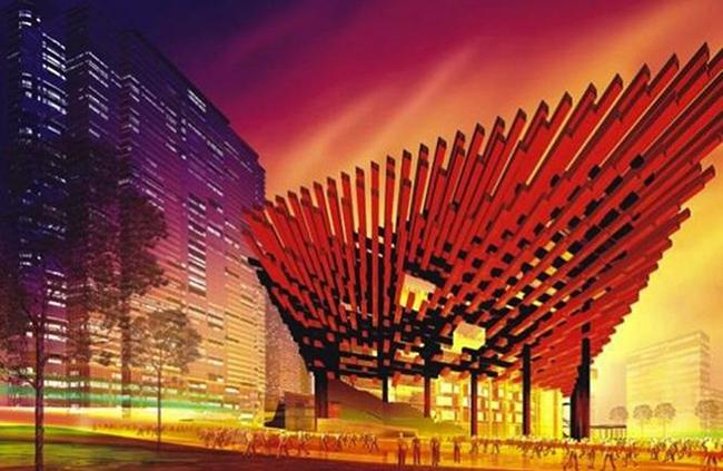 Trung tâm nghệ thuật Guotai Trùng Khánh: Trung tâm Nghệ thuật Guotai Trùng Khánh đã khiến nhiều người ấn tượng, vì tùy theo góc nhìn của mỗi người,nó có thể giống như chiếc đũa, nồi lẩu hay một cây sung.