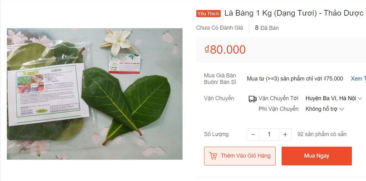 Lá bàng tươi rao bán khắp chợ mạng, giá lên đến 80.000 đồng/kg - 1