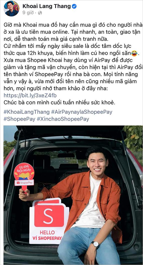 """Ví ShopeePay nhận được """"cơn mưa"""" lời khen từ S.T Sơn Thạch, Bảo Thanh, Khoai Lang Thang - 1"""