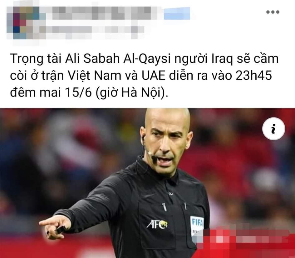 """Dân mạng """"soi"""" trọng tài chính trận Việt Nam vs UAE - 1"""