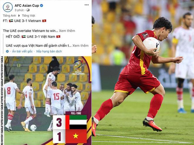 Tuyển Việt Nam thi đấu kiên cường với UAE khiến fanpage AFC bị hớ - 1