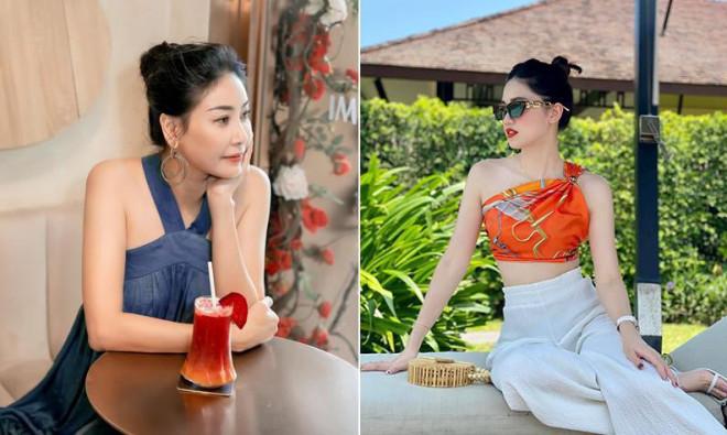 Á hậu Thanh Tú kheo eo 'con kiến' nóng bỏng, Hà Kiều Anh mặc váy yếm vai trần nuột nà - 1