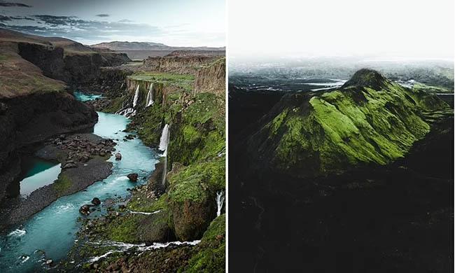 """10. Bên trái: Hình ảnh tuyệt đẹp ở hẻm núi Sigoldqugljufur, cao nguyên Iceland.Nơi này được ví như """"thung lũng nước mắt, với rất nhiều thác nước.  Bên phải: Một bức ảnh khác ở cao nguyên Iceland."""