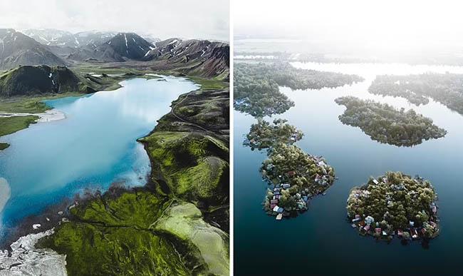"""8. Bên trái: Một bức ảnh tuyệt đẹp về khu vực địa nhiệt Landmannalaugar của Iceland. Gabor nói: """"Tôi luôn bị cuốn hút bởi những đêm mùa hè bất tận ở Iceland khi hoàng hôn buông xuống"""".  Bên phải: Một bức ảnh đẹp mê hồn khác về hồ Kavicsos mà Gabor nói đùa giống như 'Maldives của Hungary'."""