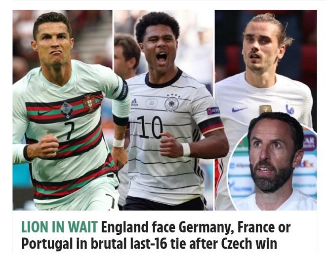 ĐT Anh đứng nhất bảng D EURO: Báo chí lo bị loại nếu gặp Bồ Đào Nha, Pháp hoặc Đức - 1