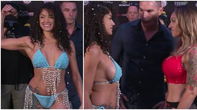 """Người đẹp bikini đấm mỹ nhân xăm trổ """"không trượt phát nào"""" - 1"""