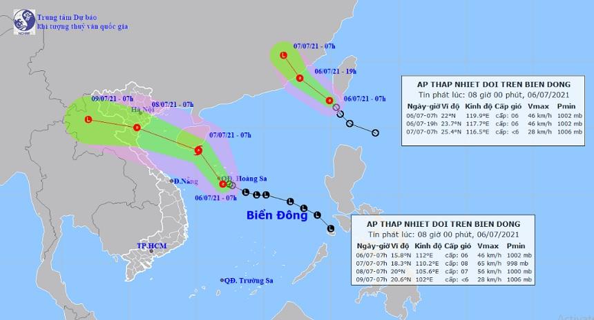 Biển Đông xuất hiện 2 áp thấp nhiệt đới, dự báo 1 cơn mạnh lên thành bão vào nước ta - 1