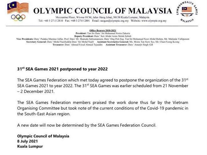 SEA Games 31 chính thức hoãn sang năm 2022 - 1