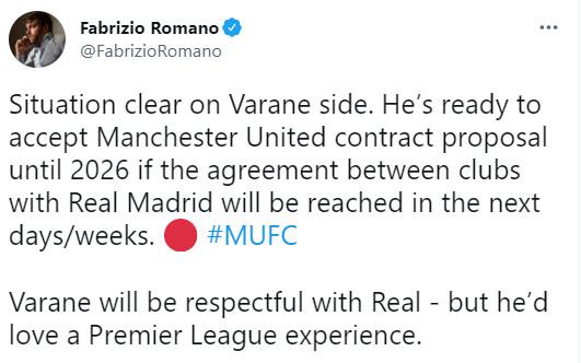 MU đón tin vui chuyển nhượng Varane, fan lên mạng hân hoan chúc mừng - 1