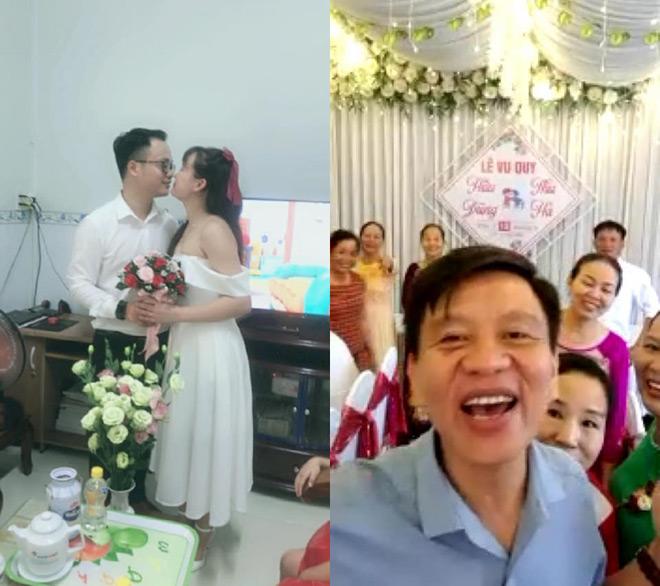 Cặp đôi tổ chức lễ cưới ở phòng trọ, họ hàng hai bên chúc mừng qua màn hình máy tính - 1