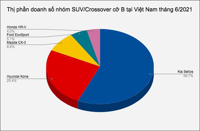 Doanh số nhóm SUV/Crossover cỡ B tại Việt Nam tháng 6/2021, Kia Seltos áp đảo các đối thủ - 1