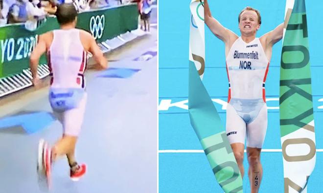 """""""Hết hồn"""" thi Olympic: VĐV mặc quần áo xuyên thấu giành HCV 3 môn phối hợp - 1"""