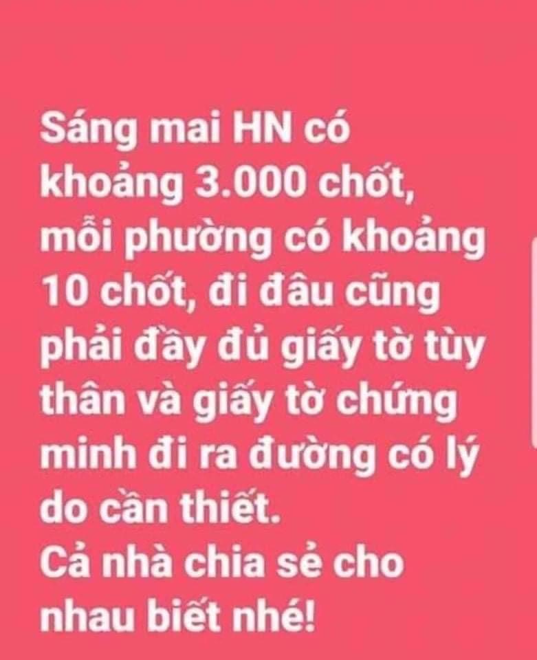 Bác tin Hà Nội lập 3.000 chốt kiểm dịch COVID-19 trong nội thành - 1