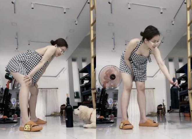 Trâm Anh khoe video nhưng phải liên tục che chắn vì váy ngắn - 1
