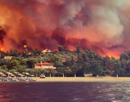 Video: Hãi hùng cảnh biển lửa tấn công hòn đảo du lịch Hy Lạp - 1