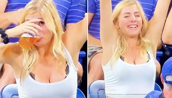 """Cô gái mặc hớ hênh """"vòng 1"""" chiếm sóng US Open, tu 1 hơi hết cốc bia đầy - 1"""