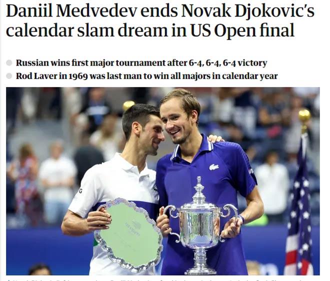 Medvedev vô địch US Open: Báo quốc tế ca ngợi kỳ tích, chia buồn với Djokovic - 1