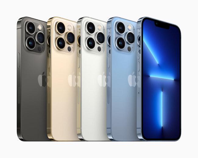 Một số tùy chọn màu sắc của iPhone 13 Pro/13 Pro Max.