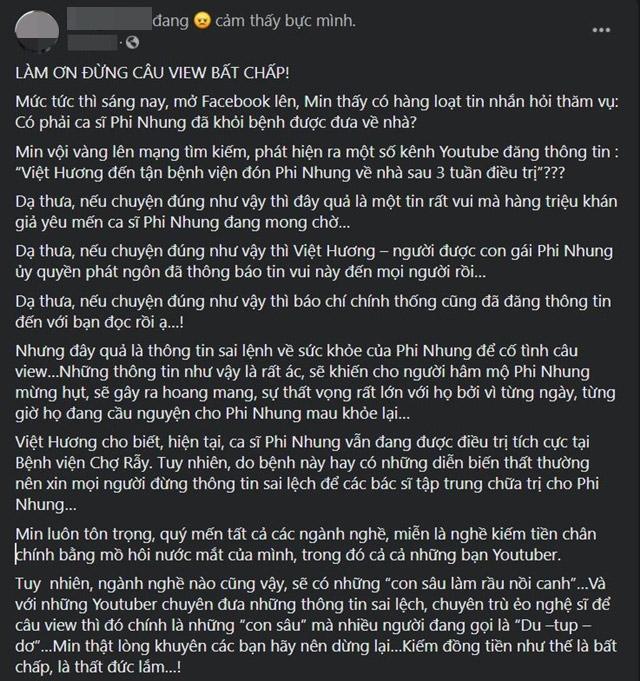 Đăng tin Việt Hương đón Phi Nhung về nhà sau hơn 3 tuần điều trị, YouTuber gây bức xúc - 1