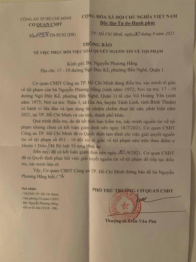 """Tin tức 24h qua:Phục hồi điều tra vụ bà Nguyễn Phương Hằng tố cáo """"thần y"""" Võ Hoàng Yên - 1"""