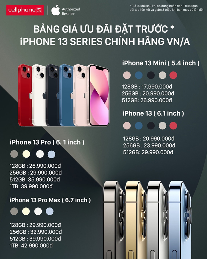 iPhone 13 series chính hãng được cập nhật mức giá ưu đãi khi lên đời - 1