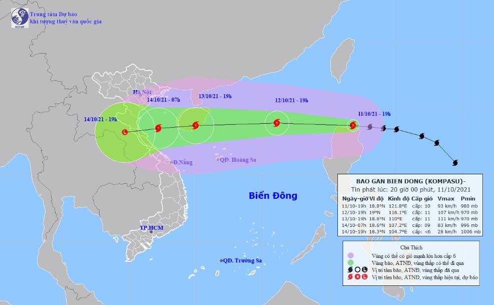 Đêm nay (11/10), bão Kompasu đi vào Biển Đông - 1