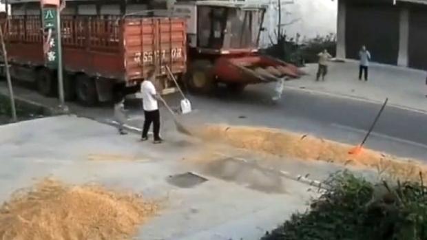 Video: Hãi hùng khoảnh khắc bé trai chạy qua đường bị máy gặt tông trúng - 1